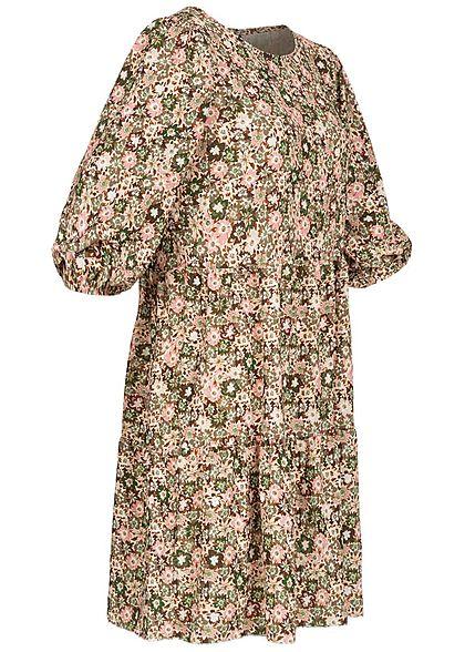 Hailys Damen Stufenkleid Puffer Ärmel Blumen Muster khaki grün