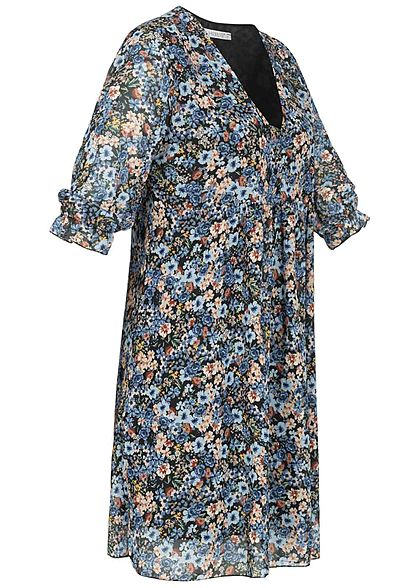 Hailys Damen 3/4-Arm V-Neck Chiffon Puffer Kleid Blumen Muster hell blau