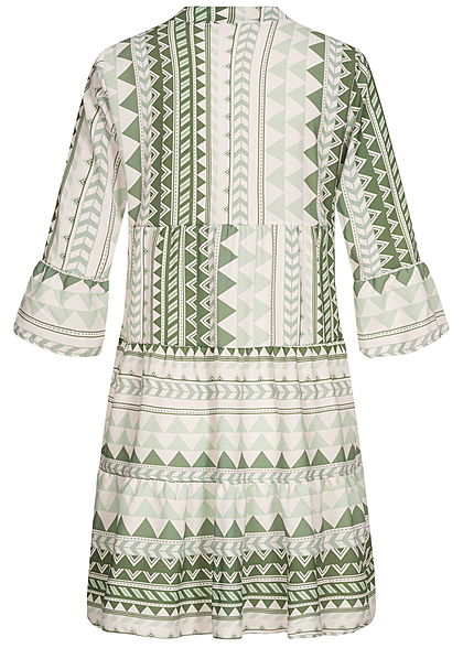 Hailys Damen 3/4-Arm V-Neck Tunika Kleid Azteken Print Volantärmel soft grün