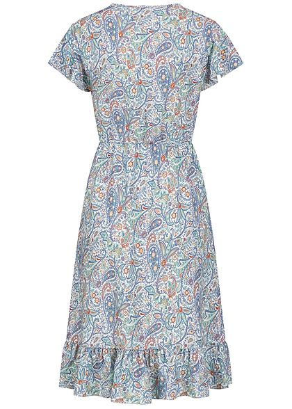 Hailys Damen V-Neck Kleid mit Volant Paisley Print blau
