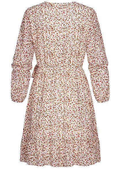 Hailys Damen V-Neck Chiffon Kleid in Wickeloptik Blumen Print Schleife off weiss