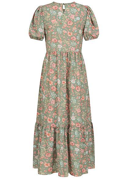 Hailys Damen Maxi Stufenkleid mit Volants Blumen Muster soft grün