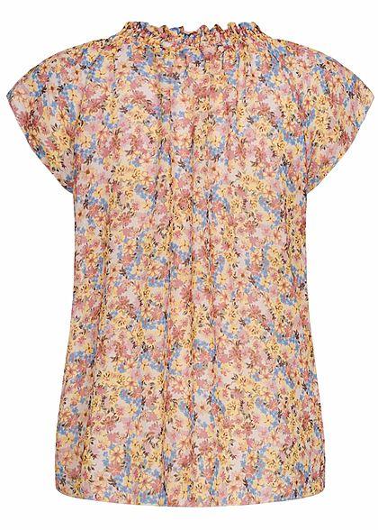 Hailys Damen V-Neck Blusen Shirt mit gerafftem Stehkragen Blumen Muster gelb