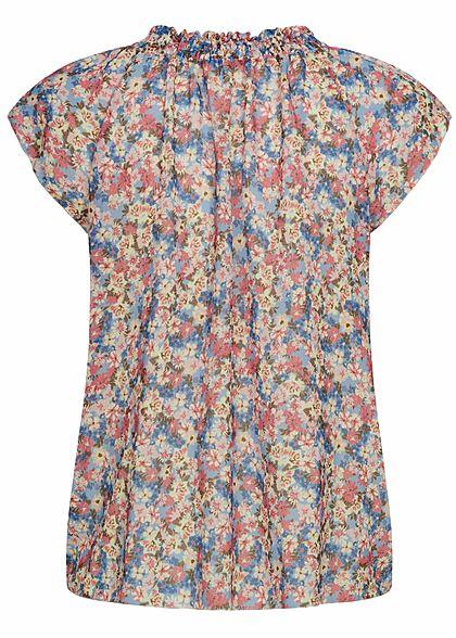 Hailys Damen V-Neck Blusen Shirt mit gerafftem Stehkragen Blumen Muster blau rosa weiss