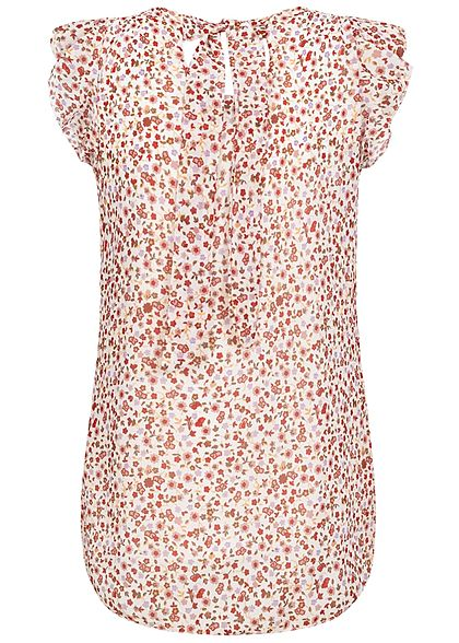 Hailys Damen Blusen Shirt Volantärmel Bindedetail hinten Blumen Muster weiss rosa