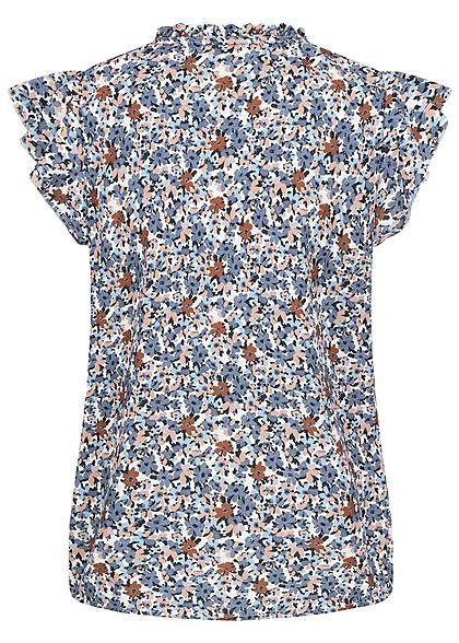 Hailys Damen Blusen Shirt Stehkragen Bindedetail All Over Print blau weiss