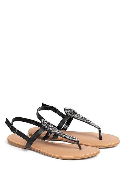 Hailys Damen Schuh Sandale Zehensteg Deko Perlen schwarz