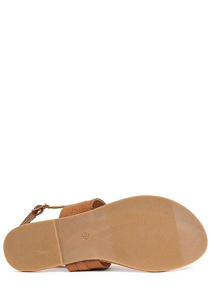 Hailys Damen Schuh Sandale Zehensteg cognac braun