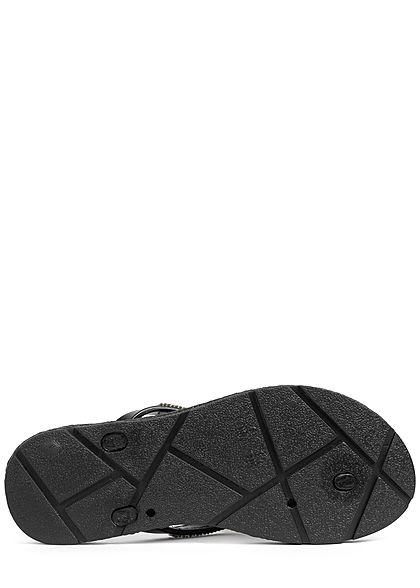 Hailys Damen Schuh Sandale Zehensteg Strasssteine Glitzer schwarz