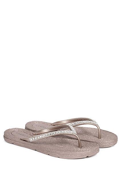 Hailys Damen Schuh Sandale Zehensteg Strasssteine Glitzer rosa