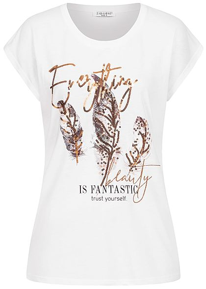 Zabaione Damen T-Shirt Everything Feder Print Pailletten weiss