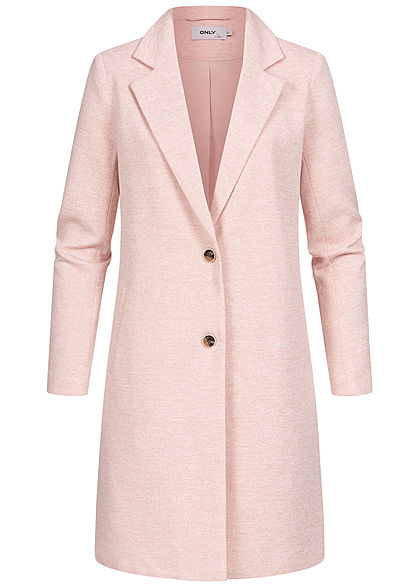 ONLY Damen NOOS Longline Coatigan Jacke 2-Pockets smoke rosa melange - Art.-Nr.: 21031351