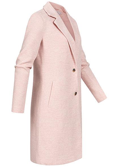 ONLY Damen NOOS Longline Coatigan Jacke 2-Pockets smoke rosa melange