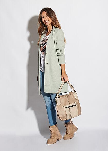 ONLY Damen NOOS Longline Coatigan Jacke 2-Pockets lichen grün melange