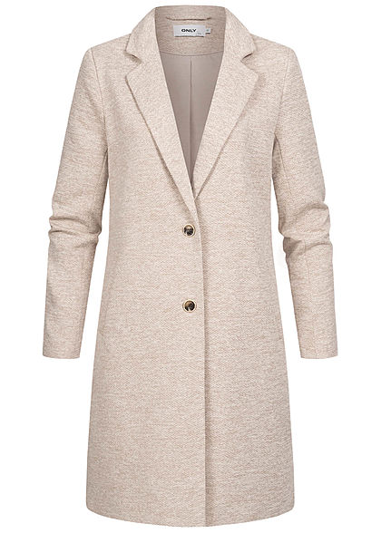 ONLY Damen NOOS Longline Coatigan Jacke 2-Pockets etherea beige melange - Art.-Nr.: 21031353