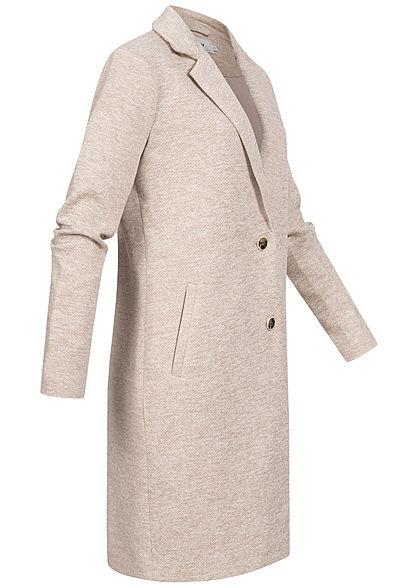 ONLY Damen NOOS Longline Coatigan Jacke 2-Pockets etherea beige melange
