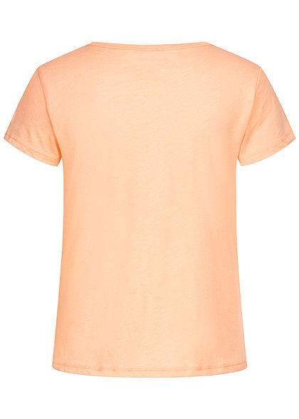 Eight2Nine Damen T-Shirt Kaktus Print pale peach pink melange
