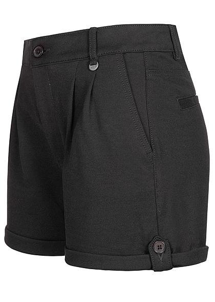 Eight2Nine Damen High-Waist Shorts Beinumschlag 4-Pockets schwarz