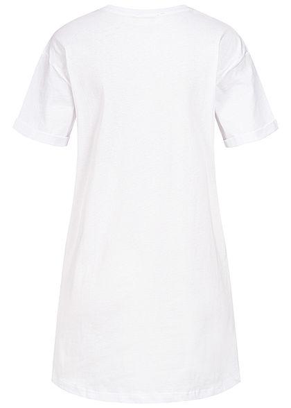 Sublevel Damen Longform T-Shirt Woman Print weiss