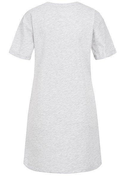 Sublevel Damen Longform T-Shirt Woman Print hell grau melange
