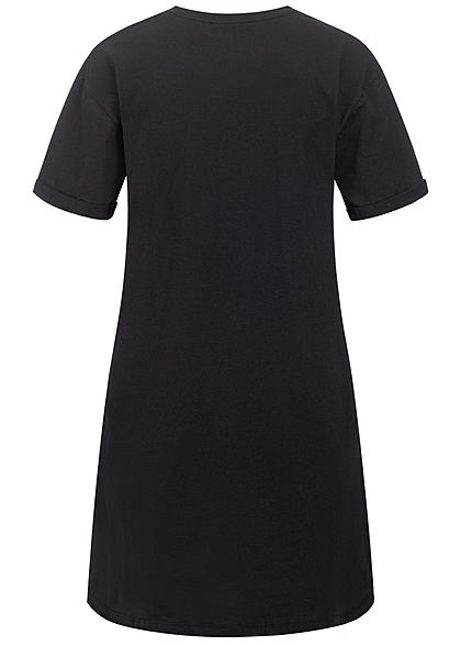 Sublevel Damen Longform T-Shirt Woman Print schwarz