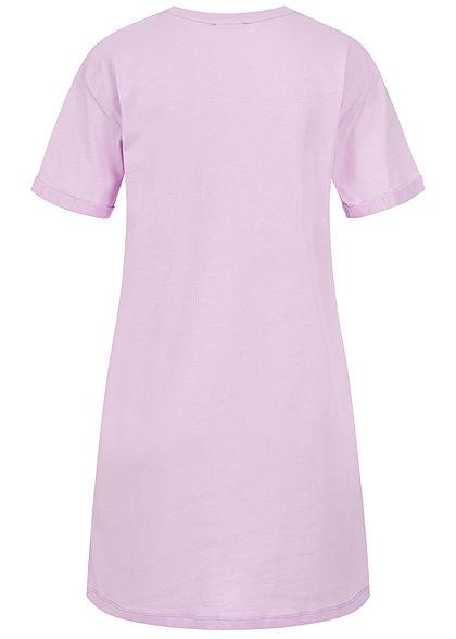 Sublevel Damen Longform T-Shirt Woman Print tender lila