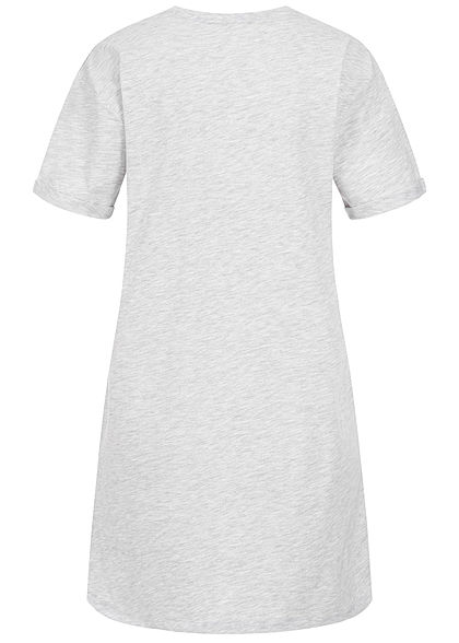 Sublevel Damen Longform T-Shirt Woman Print hell grau melange