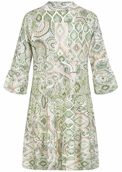 Hailys Damen V-Neck 7/8 Arm Puffer Kleid All Over Print soft grün
