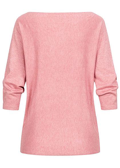 Hailys Damen 3/4 Fledermausarm Longform Pullover marl blush rosa
