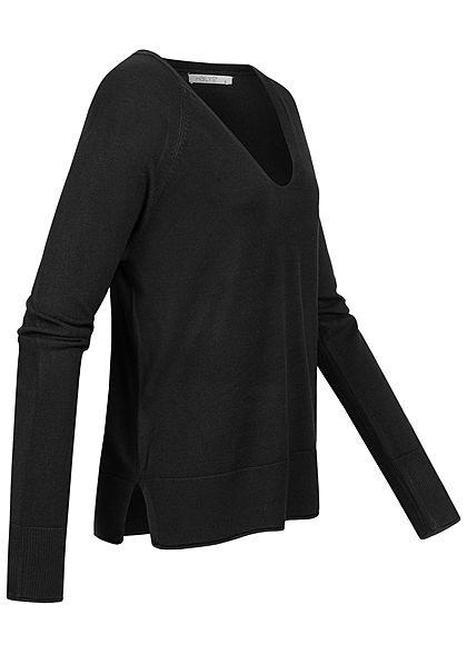 Hailys Damen V-Neck Longsleeve Pullover Rollsaumkante schwarz