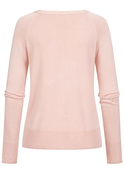 Hailys Damen V-Neck Longsleeve Pullover Rollsaumkante rosa