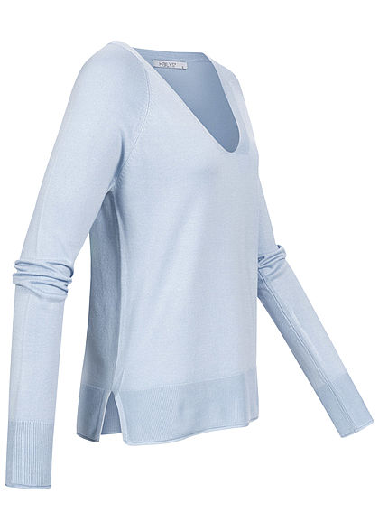 Hailys Damen V-Neck Longsleeve Pullover Rollsaumkante hell blau