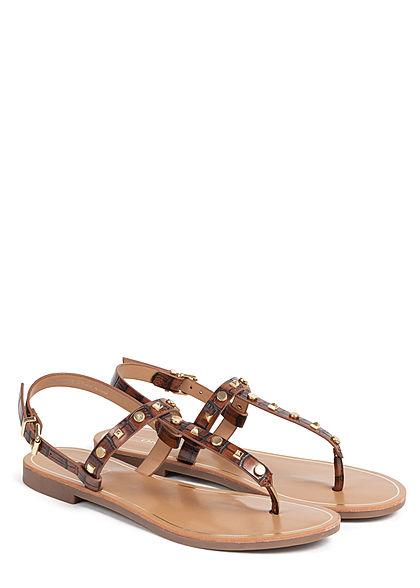 ONLY Damen Schuh Sandale Zehensteg Nieten stone braun gold