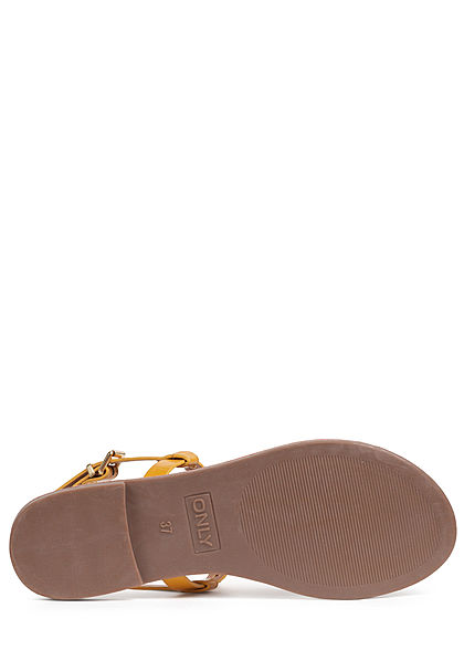ONLY Damen Schuh Sandale Zehensteg Nieten sunshine gelb gold