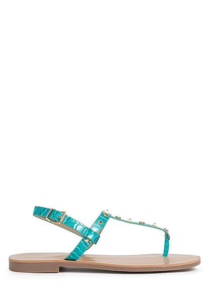 ONLY Damen Schuh Sandale Zehensteg Nieten aqua blau gold