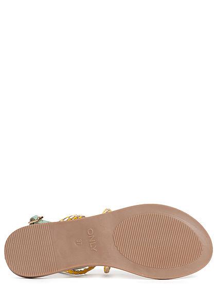 ONLY Damen Schuh Sandale Zehensteg Flechtriemen sage grün gelb silber
