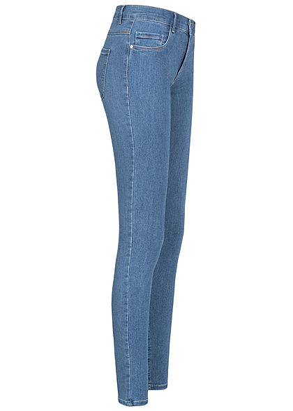 ONLY Damen Skinny Jeans Hose Regular Waist 5-Pockets hell blau denim
