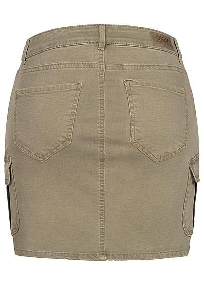 ONLY Damen NOOS Mini Cargo Jeans Rock 7-Pockets covert grün