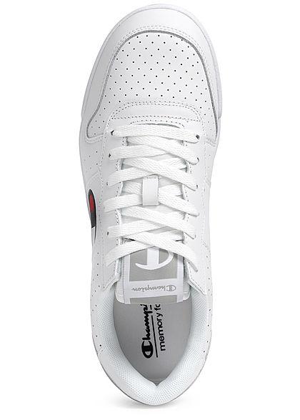 Champion Herren Schuh Low Cut Sneaker Logo Print seitlich zum schnüren unicolor weiss
