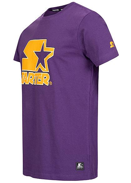 Starter Herren T-Shirt Contrast Logo Print real lila