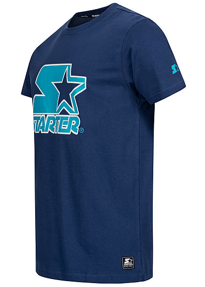 Starter Herren T-Shirt Contrast Logo Print space blau