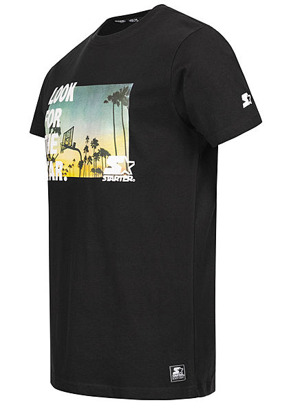 Starter Herren T-Shirt Look for the Star Court Print schwarz