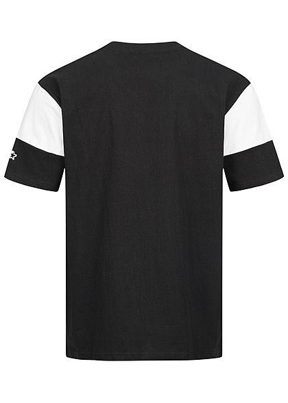 Starter Herren T-Shirt Logo Print Colorblock schwarz weiss