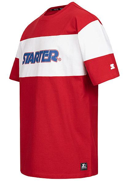 Starter Herren T-Shirt Logo Print Colorblock city rot weiss