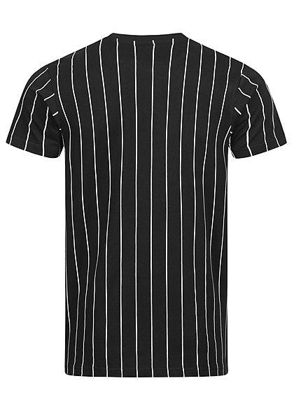 Starter Herren T-Shirt Logo Print Streifen Muster schwarz weiss