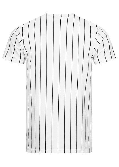 Starter Herren T-Shirt Logo Print Streifen Muster weiss schwarz