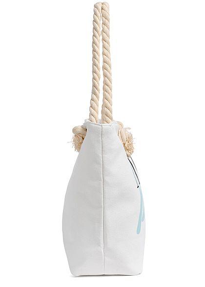 Hailys Damen Shopper Handtasche More Beach Print 47cmx30cm hellblau weiss