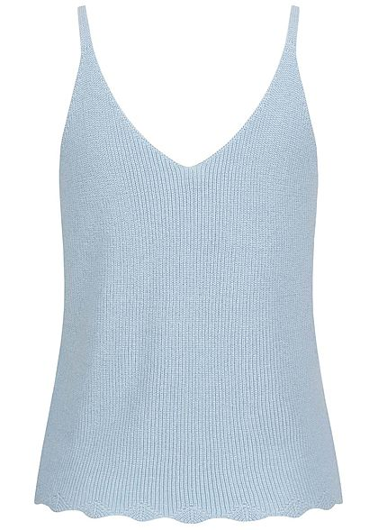 ONLY Damen V-Neck Ribbed Top Wellenmuster am Saum cashmere blau