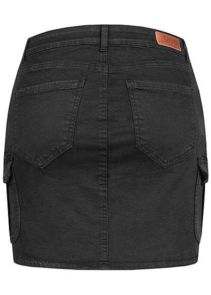 ONLY Damen NOOS Mini Cargo Jeans Rock 7-Pockets washed schwarz