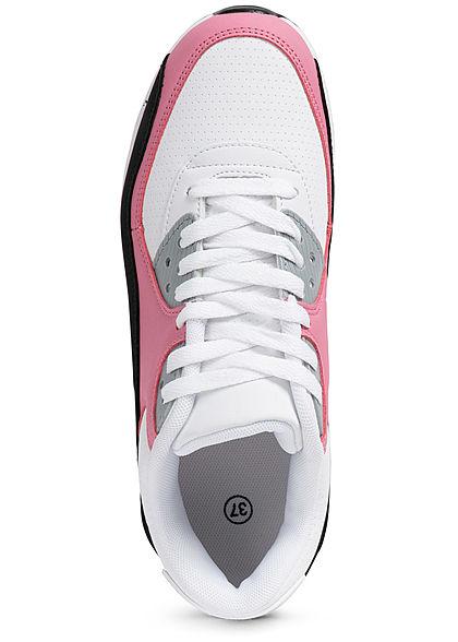 Seventyseven Lifestyle Damen Schuh Kunstleder Sneaker zum schnüren weiss rosa schwarz